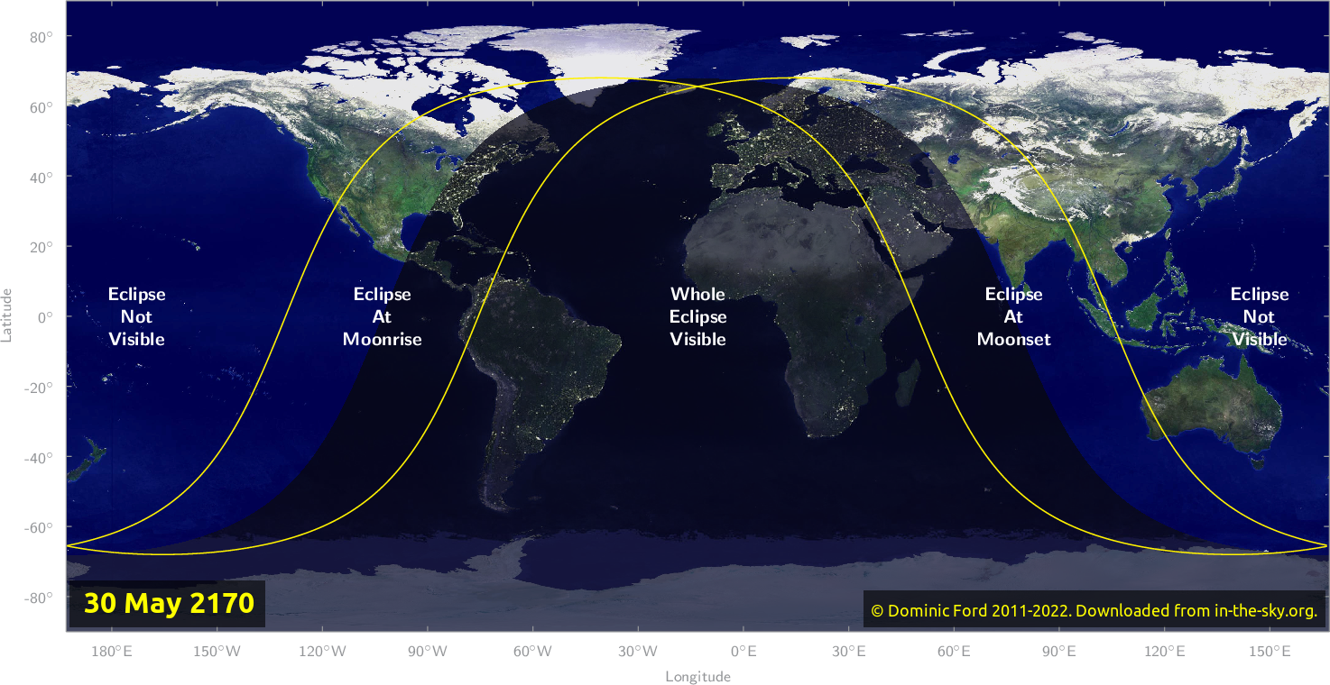 Map of where the eclipse of May 2170 will be visible.