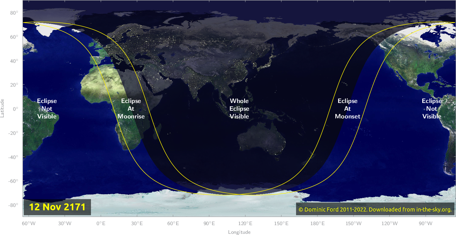 Map of where the eclipse of November 2171 will be visible.