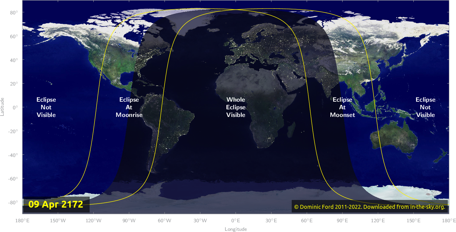 Map of where the eclipse of April 2172 will be visible.