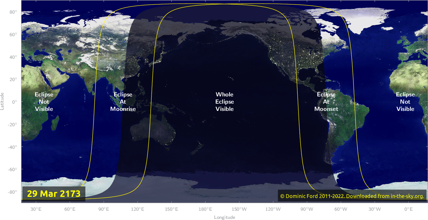 Map of where the eclipse of March 2173 will be visible.