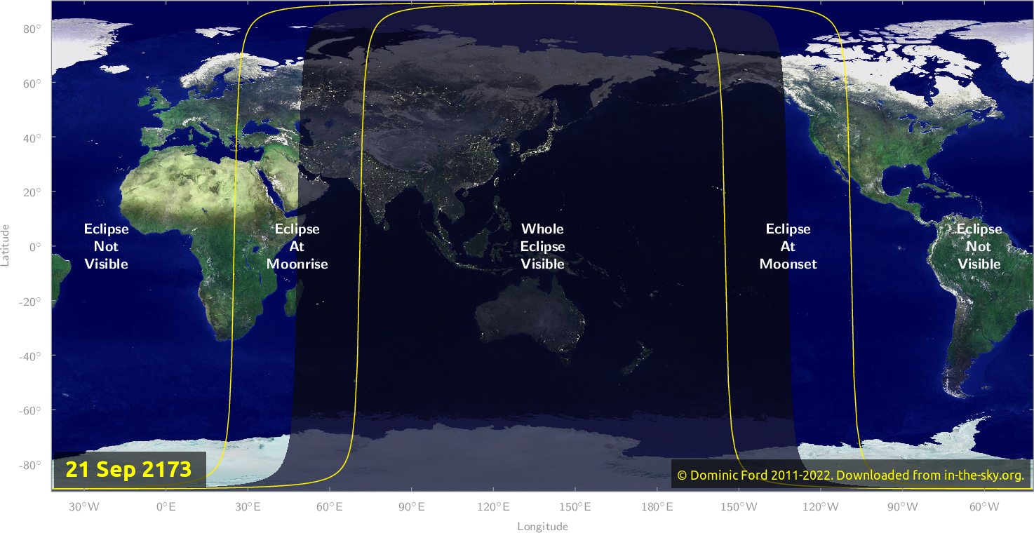 Map of where the eclipse of September 2173 will be visible.