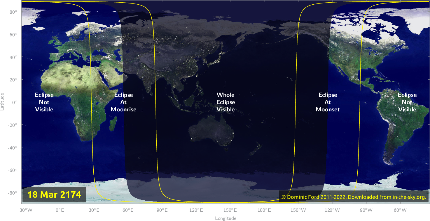 Map of where the eclipse of March 2174 will be visible.