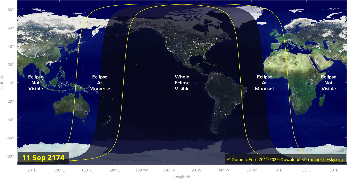 Map of where the eclipse of September 2174 will be visible.