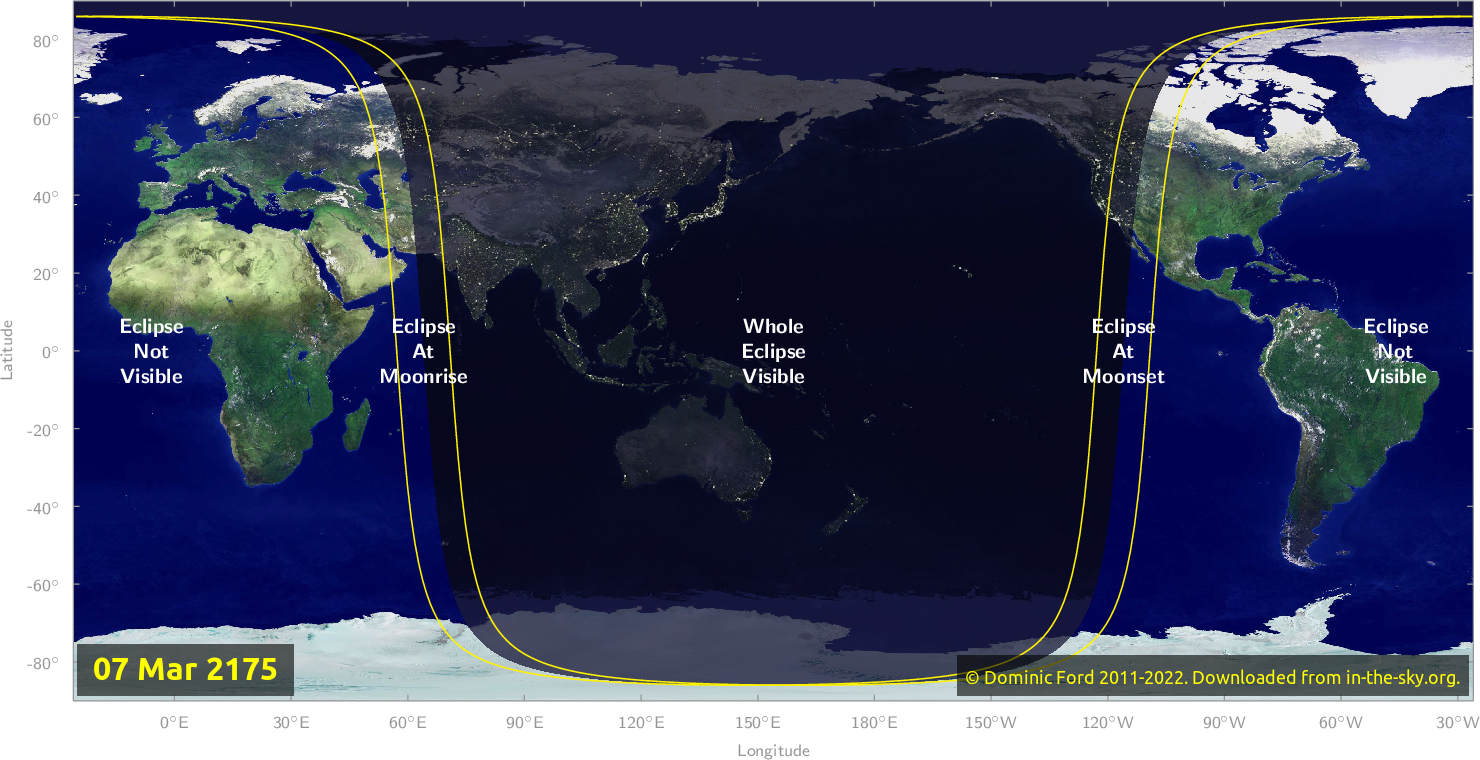 Map of where the eclipse of March 2175 will be visible.