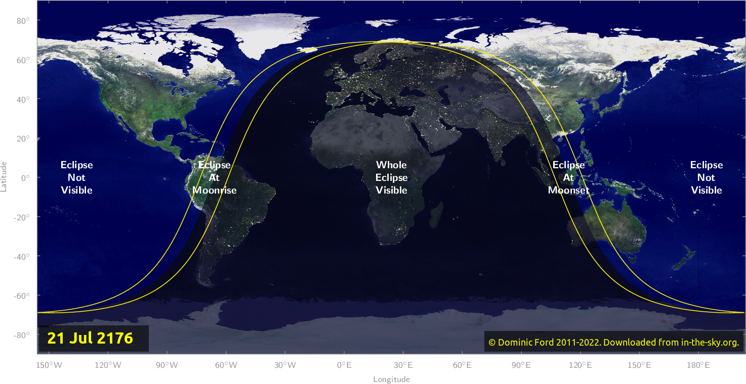 Map of where the eclipse of July 2176 will be visible.
