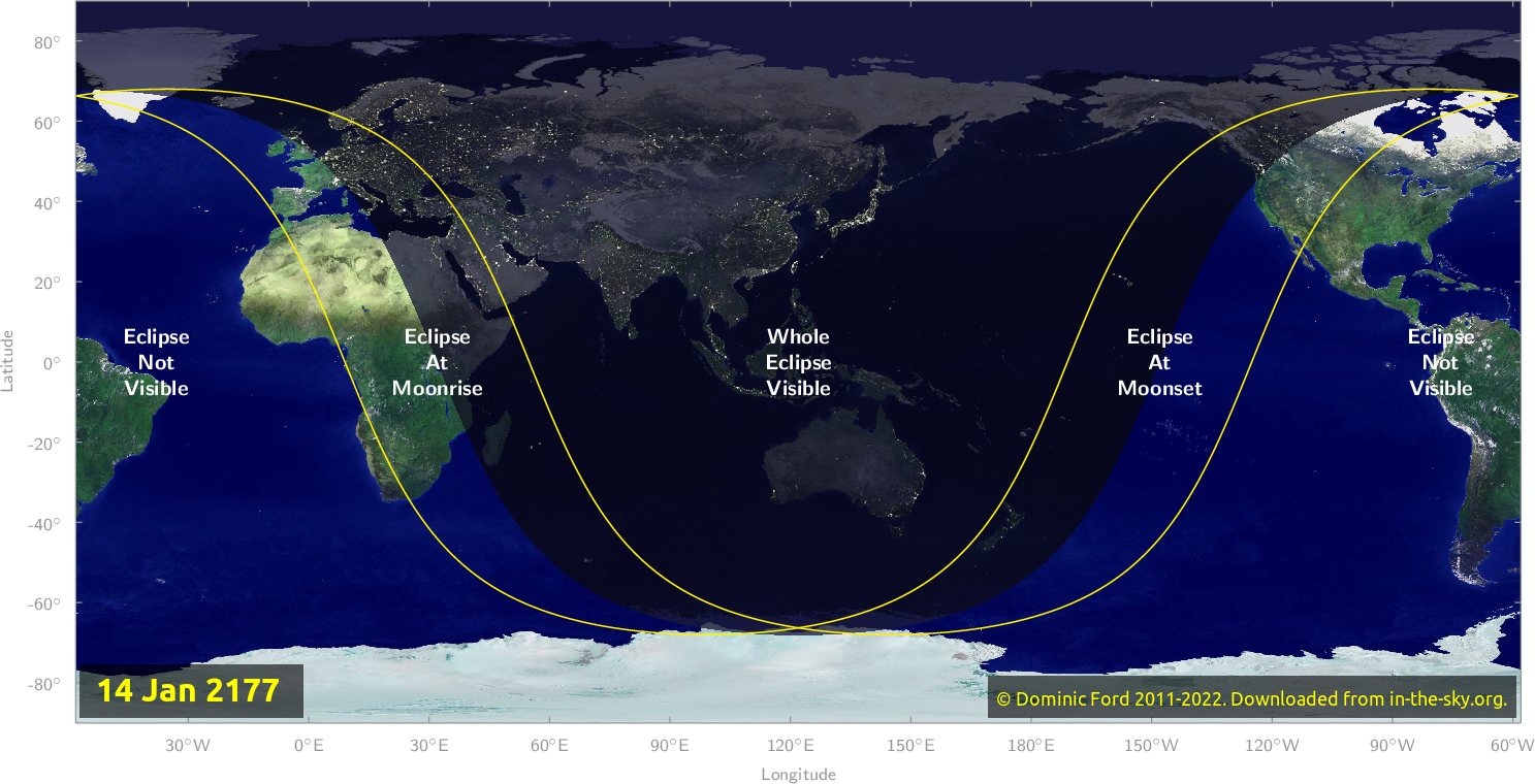 Map of where the eclipse of January 2177 will be visible.