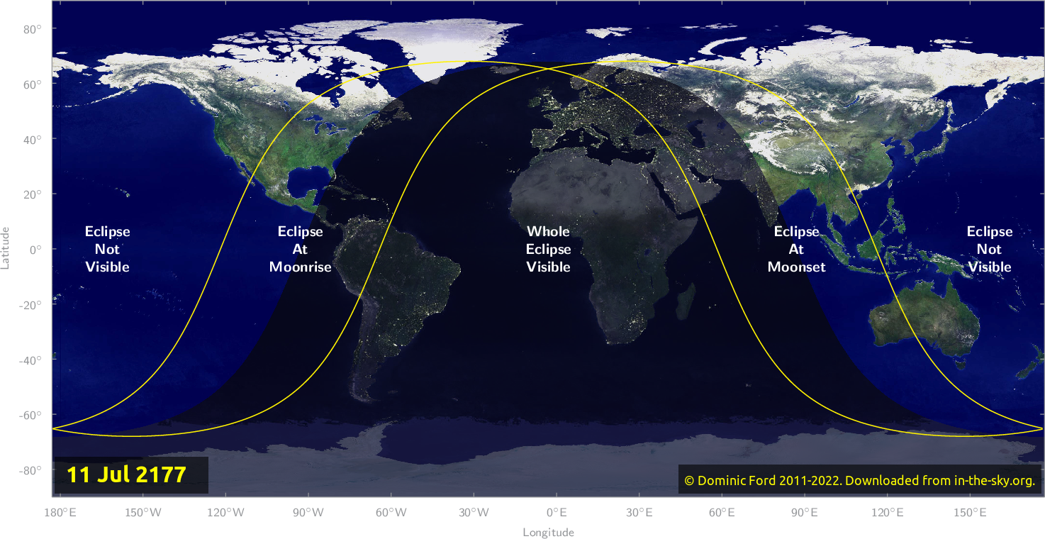 Map of where the eclipse of July 2177 will be visible.