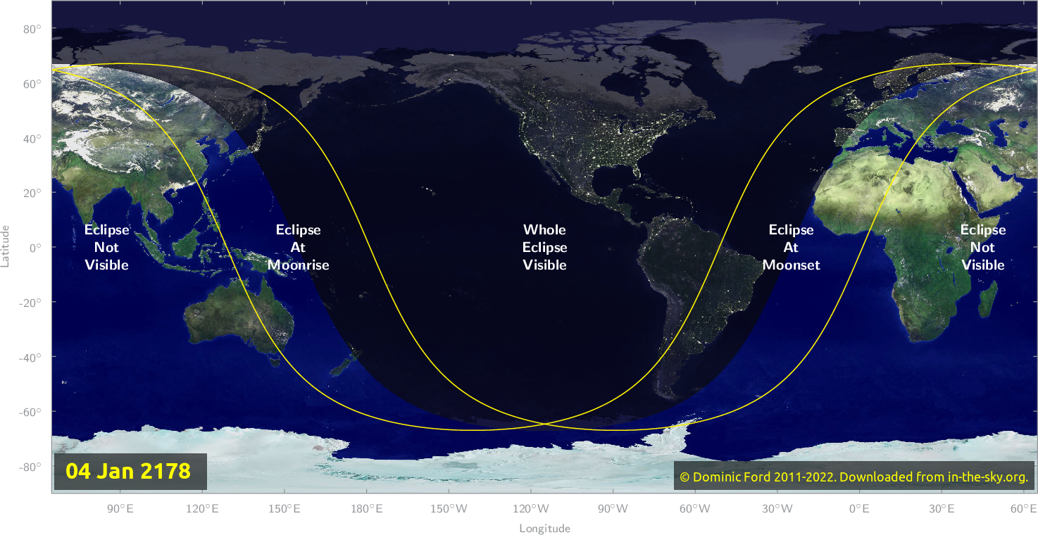 Map of where the eclipse of January 2178 will be visible.