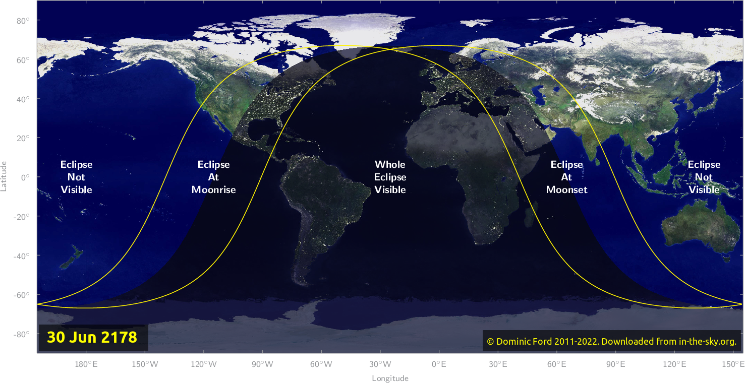 Map of where the eclipse of June 2178 will be visible.