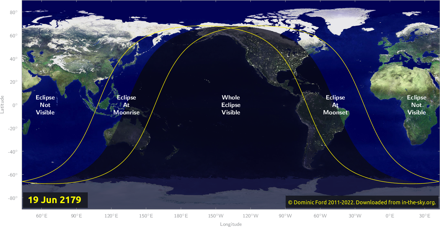 Map of where the eclipse of June 2179 will be visible.