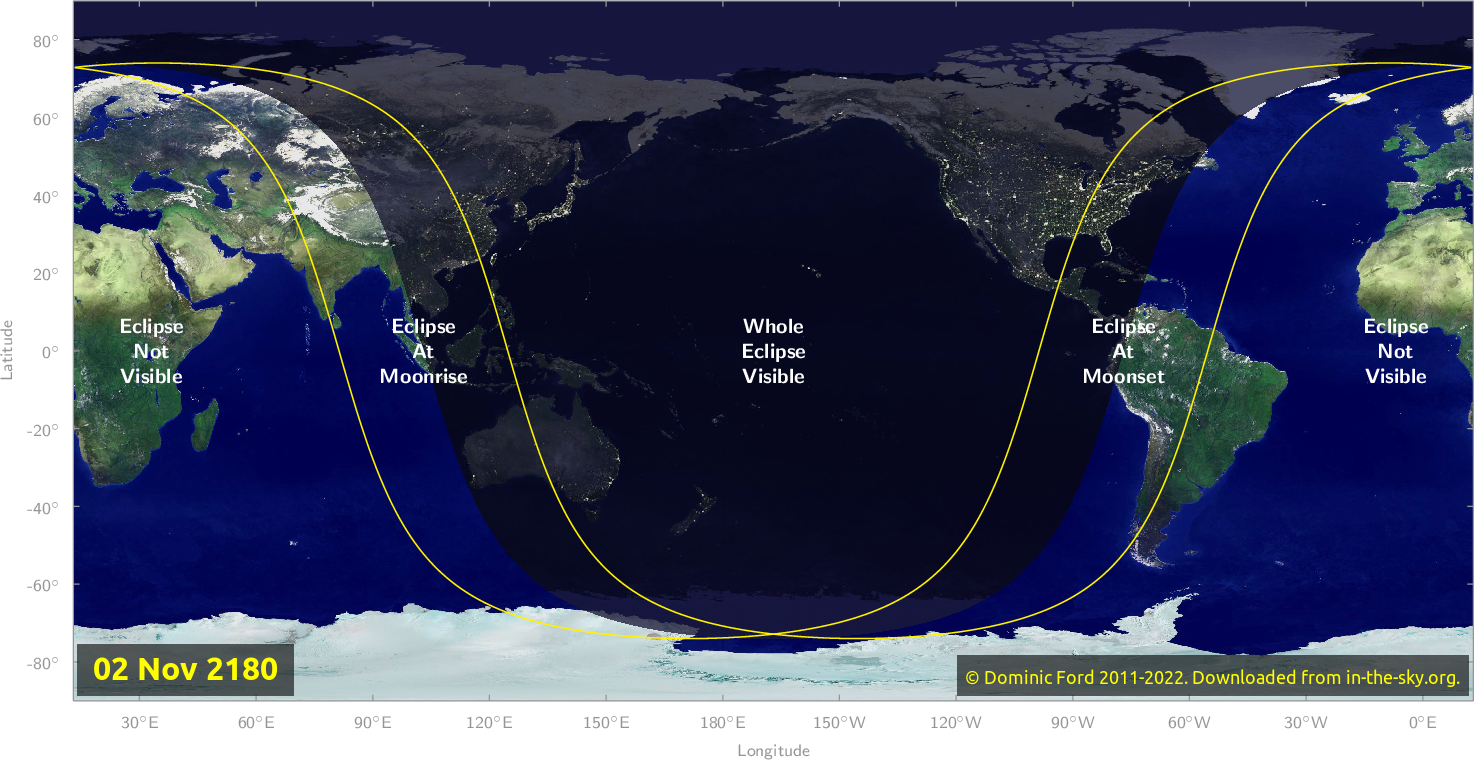 Map of where the eclipse of November 2180 will be visible.