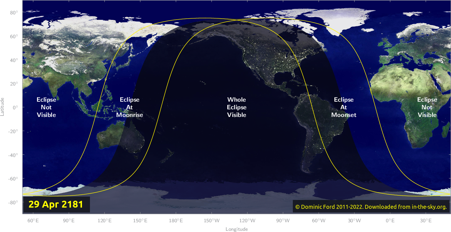 Map of where the eclipse of April 2181 will be visible.