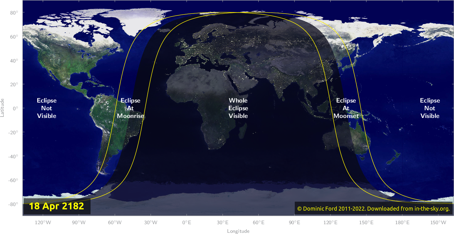 Map of where the eclipse of April 2182 will be visible.