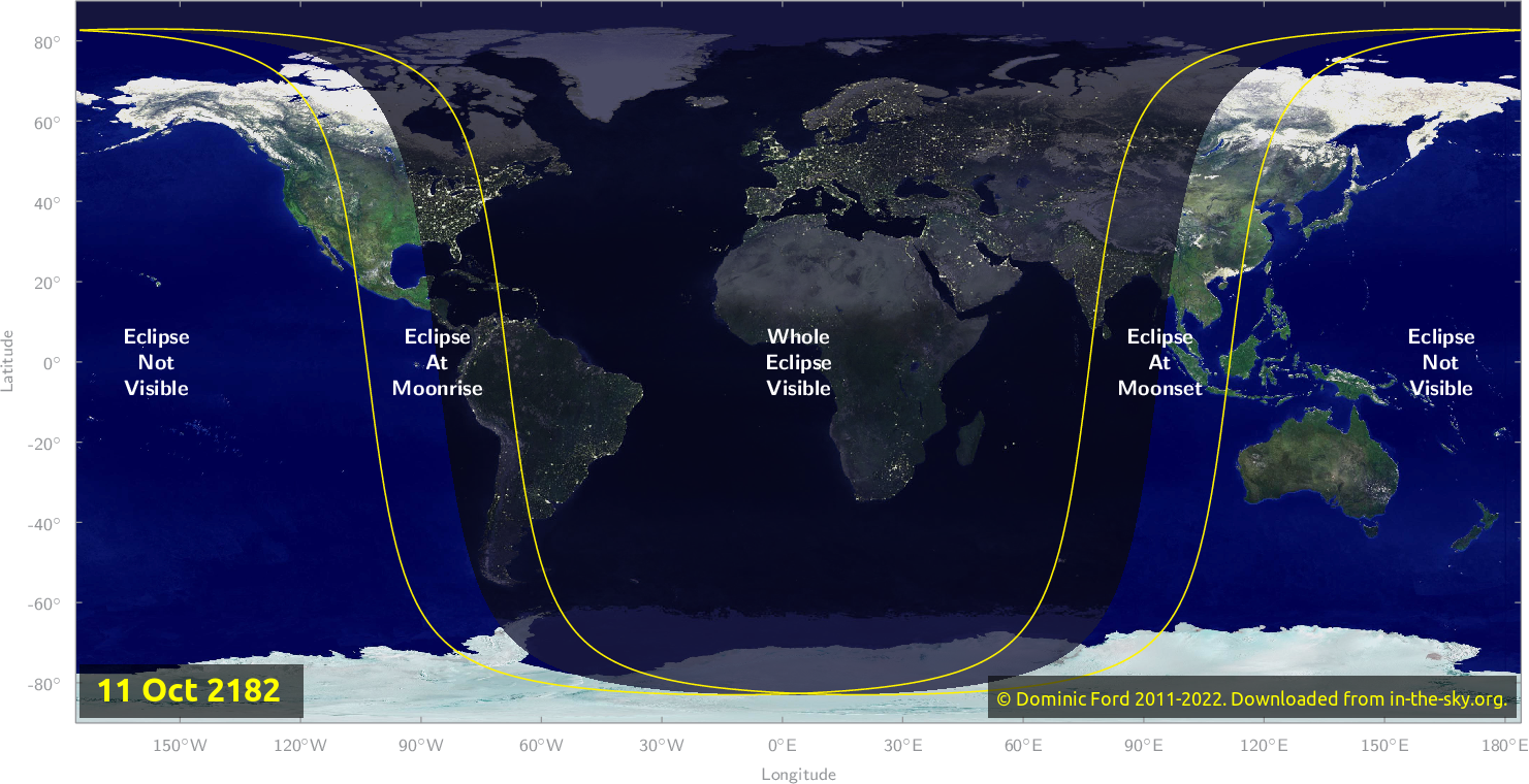 Map of where the eclipse of October 2182 will be visible.