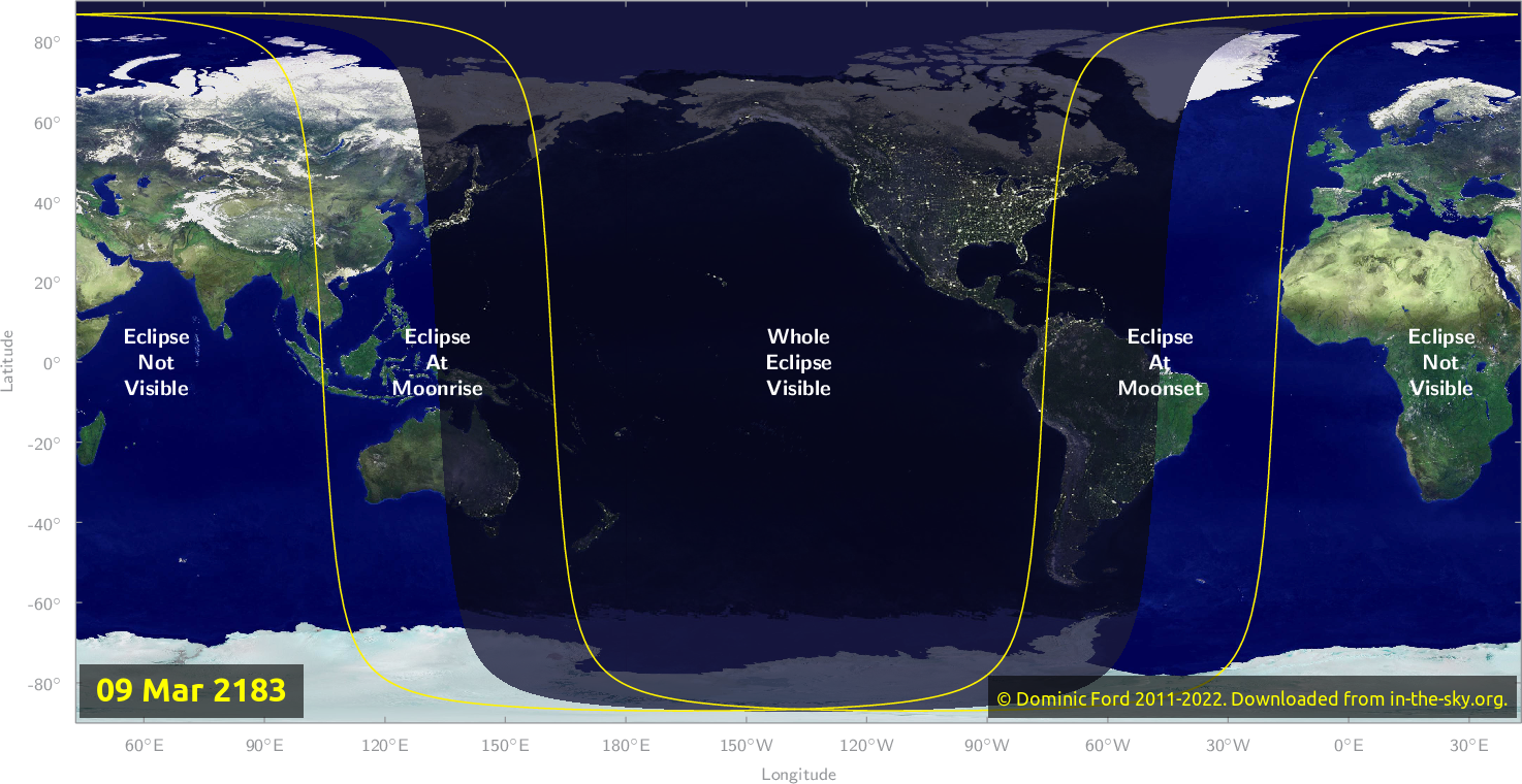 Map of where the eclipse of March 2183 will be visible.