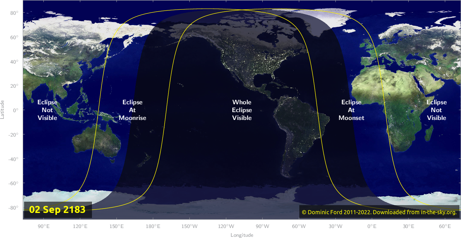 Map of where the eclipse of September 2183 will be visible.
