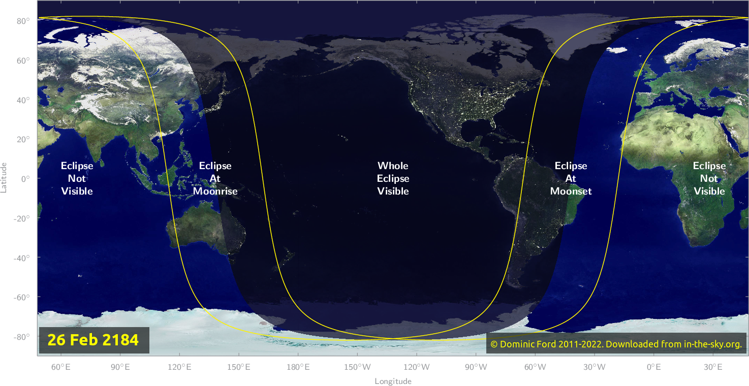 Map of where the eclipse of February 2184 will be visible.