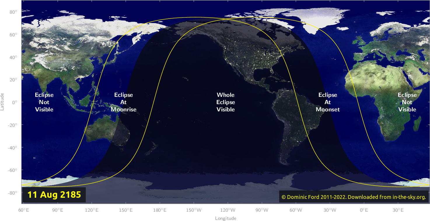 Map of where the eclipse of August 2185 will be visible.