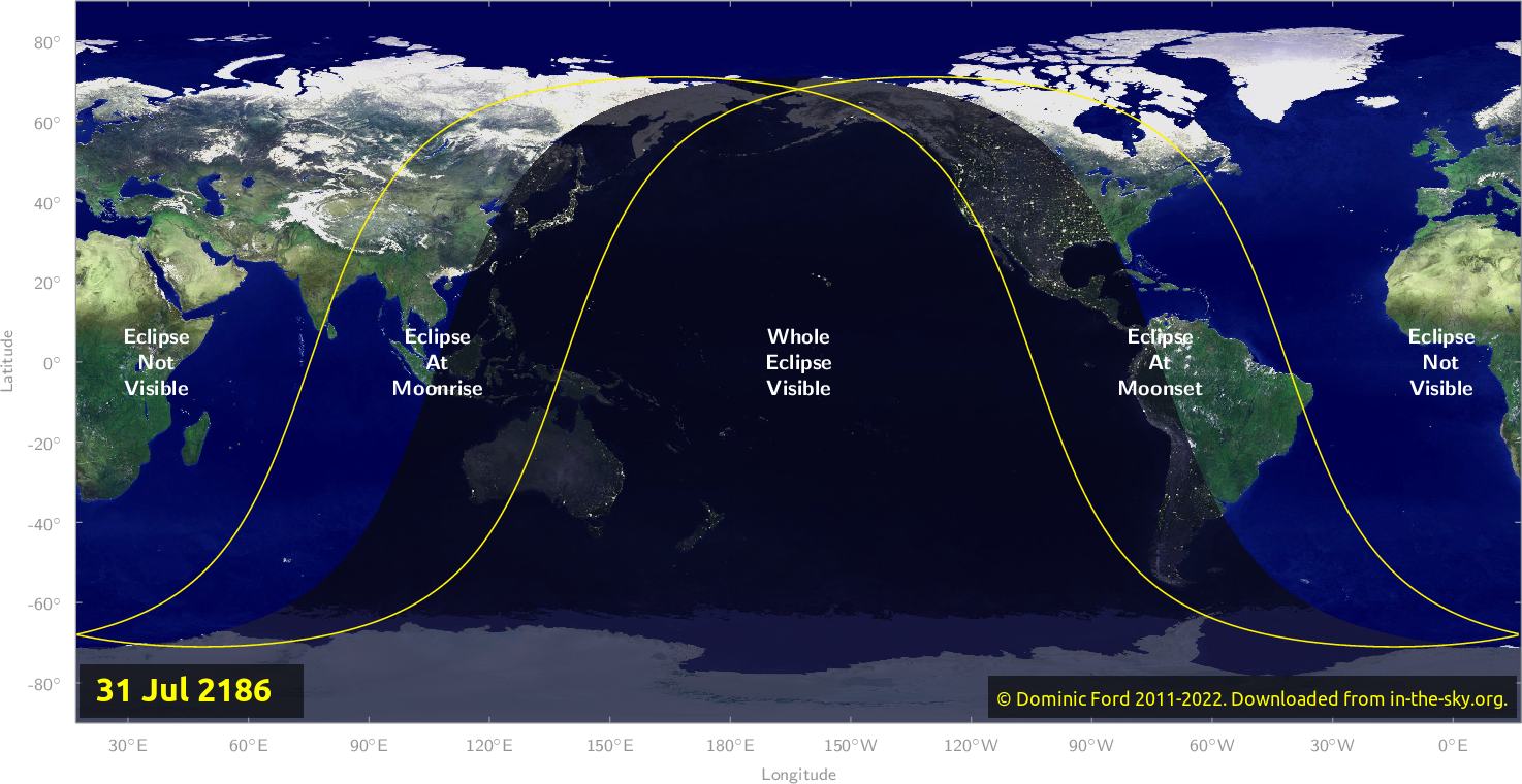 Map of where the eclipse of July 2186 will be visible.