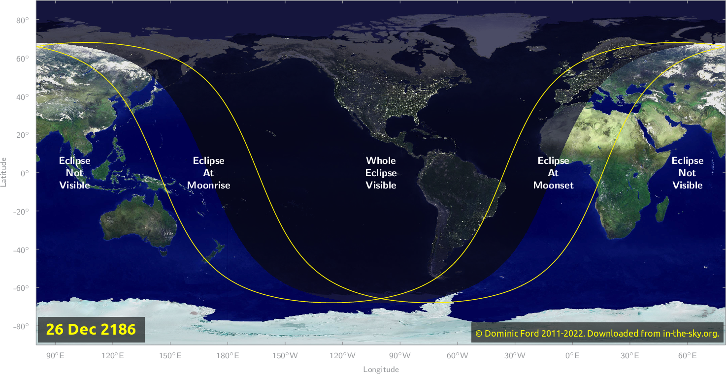 Map of where the eclipse of December 2186 will be visible.