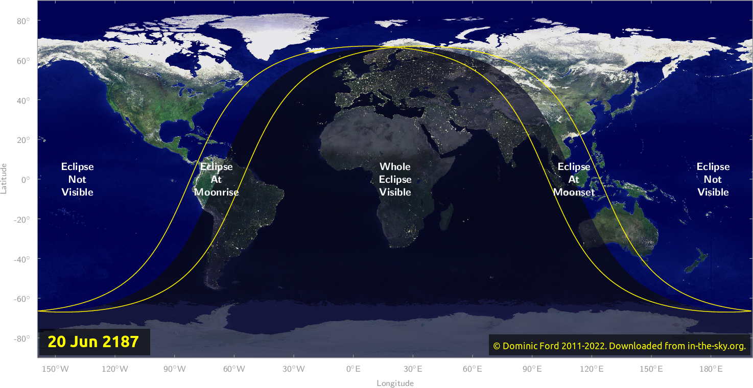 Map of where the eclipse of June 2187 will be visible.