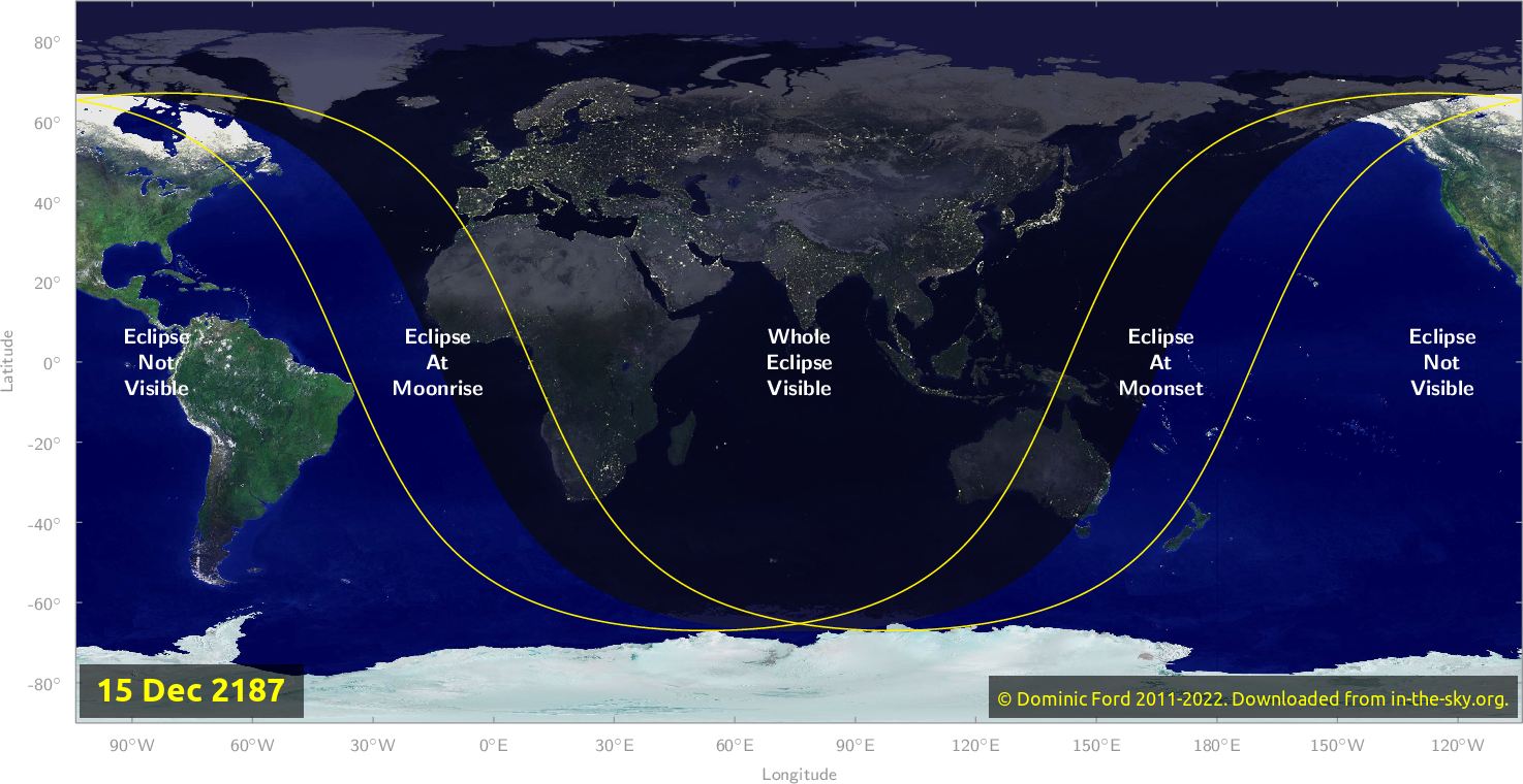 Map of where the eclipse of December 2187 will be visible.