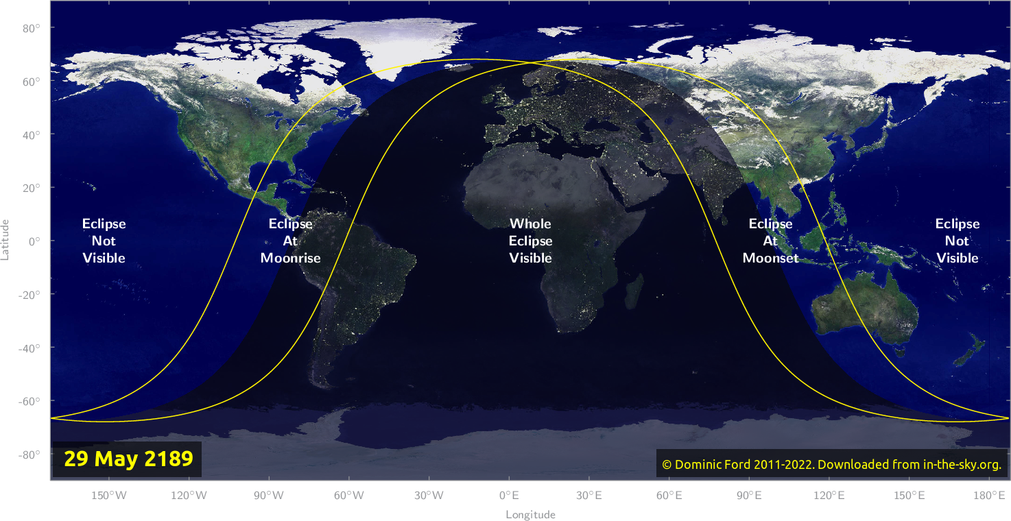 Map of where the eclipse of May 2189 will be visible.