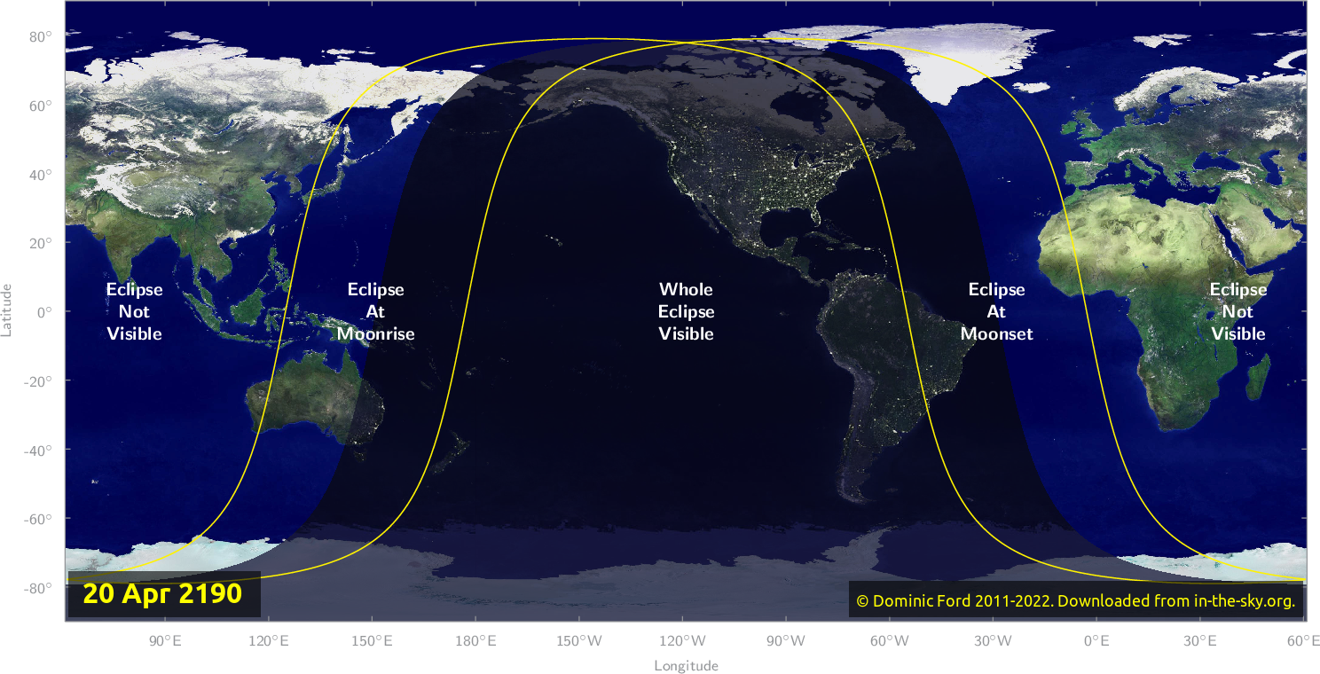 Map of where the eclipse of April 2190 will be visible.