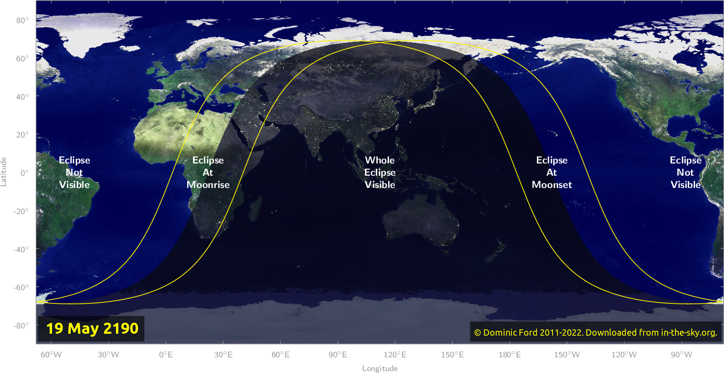 Map of where the eclipse of May 2190 will be visible.