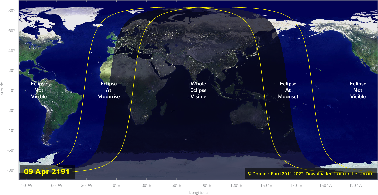 Map of where the eclipse of April 2191 will be visible.
