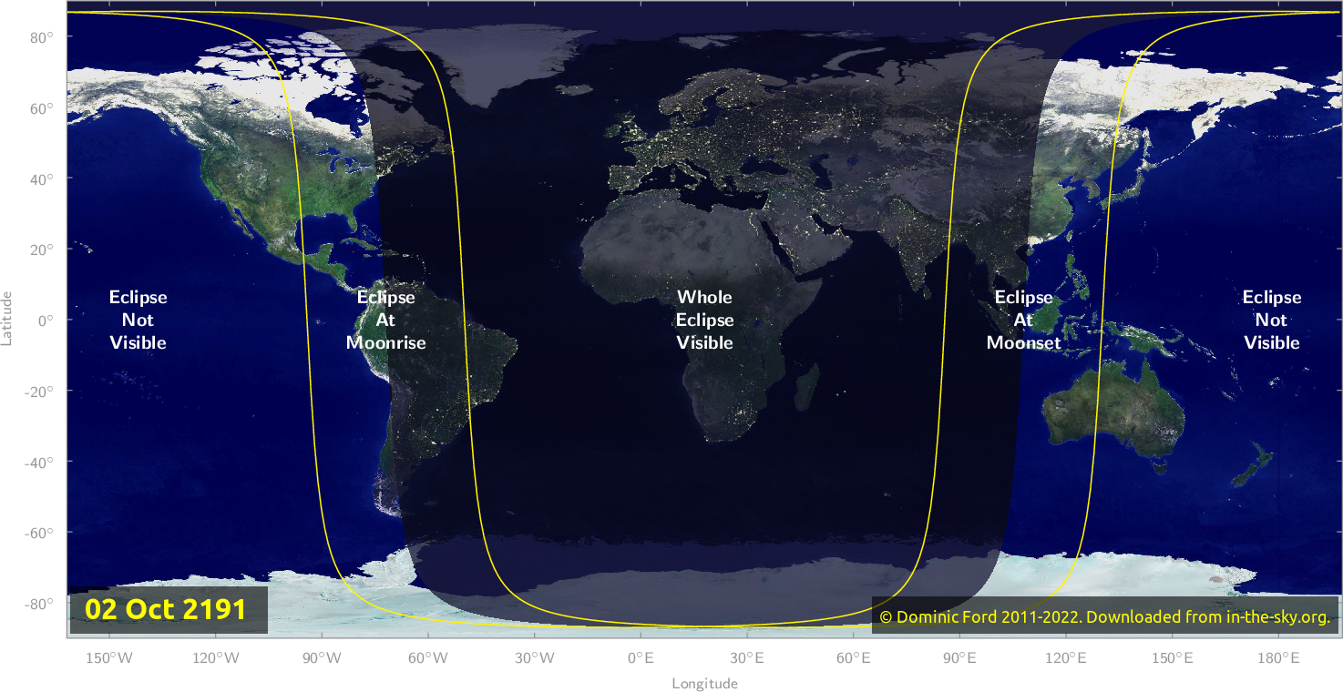 Map of where the eclipse of October 2191 will be visible.