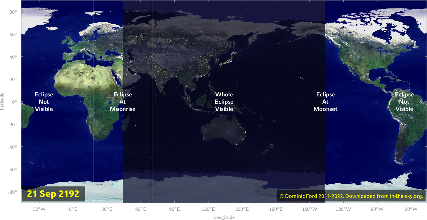 Map of where the eclipse of September 2192 will be visible.
