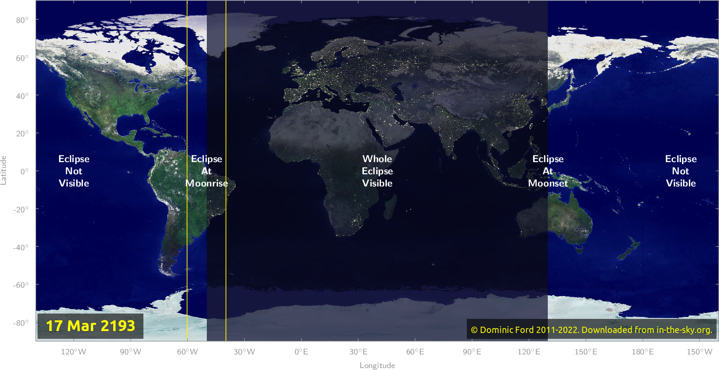 Map of where the eclipse of March 2193 will be visible.