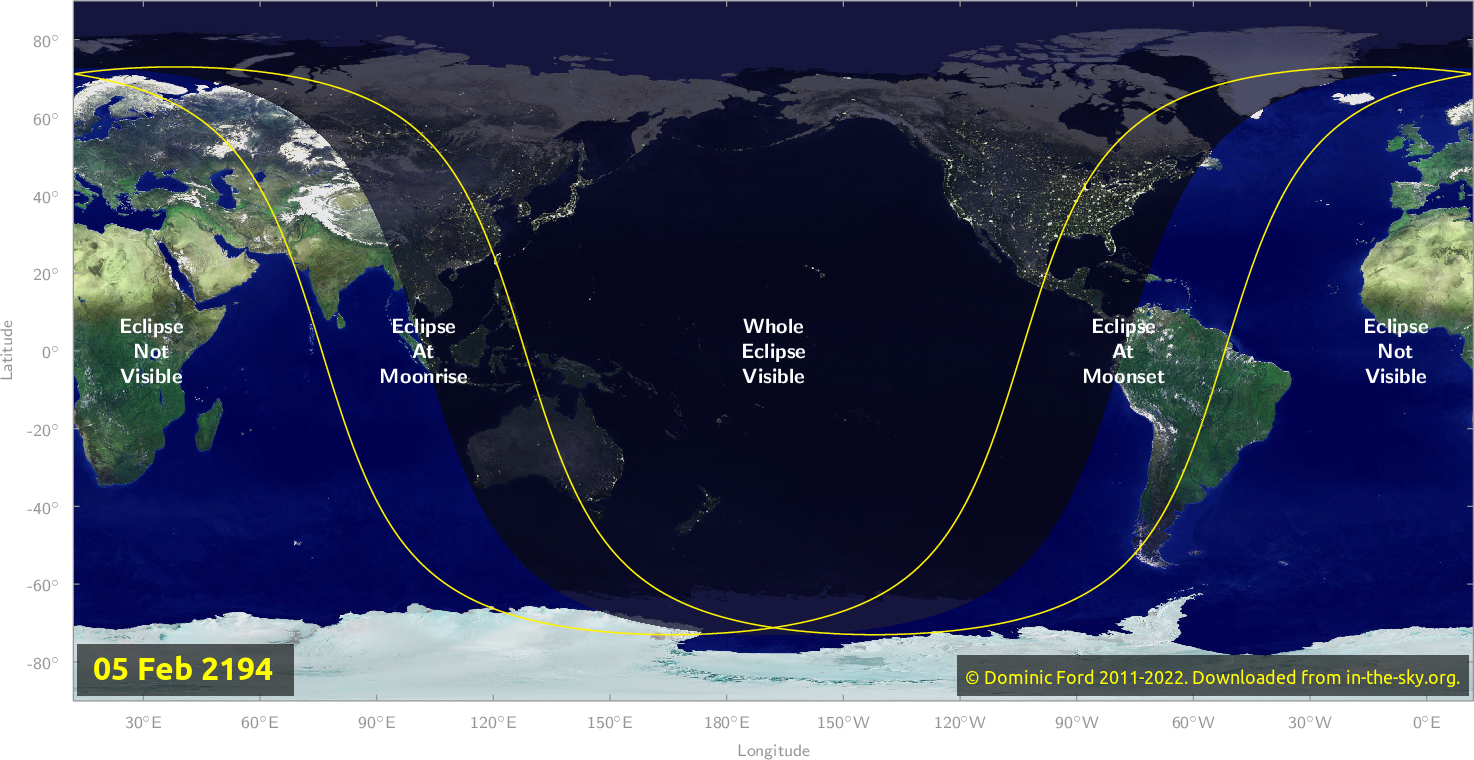 Map of where the eclipse of February 2194 will be visible.