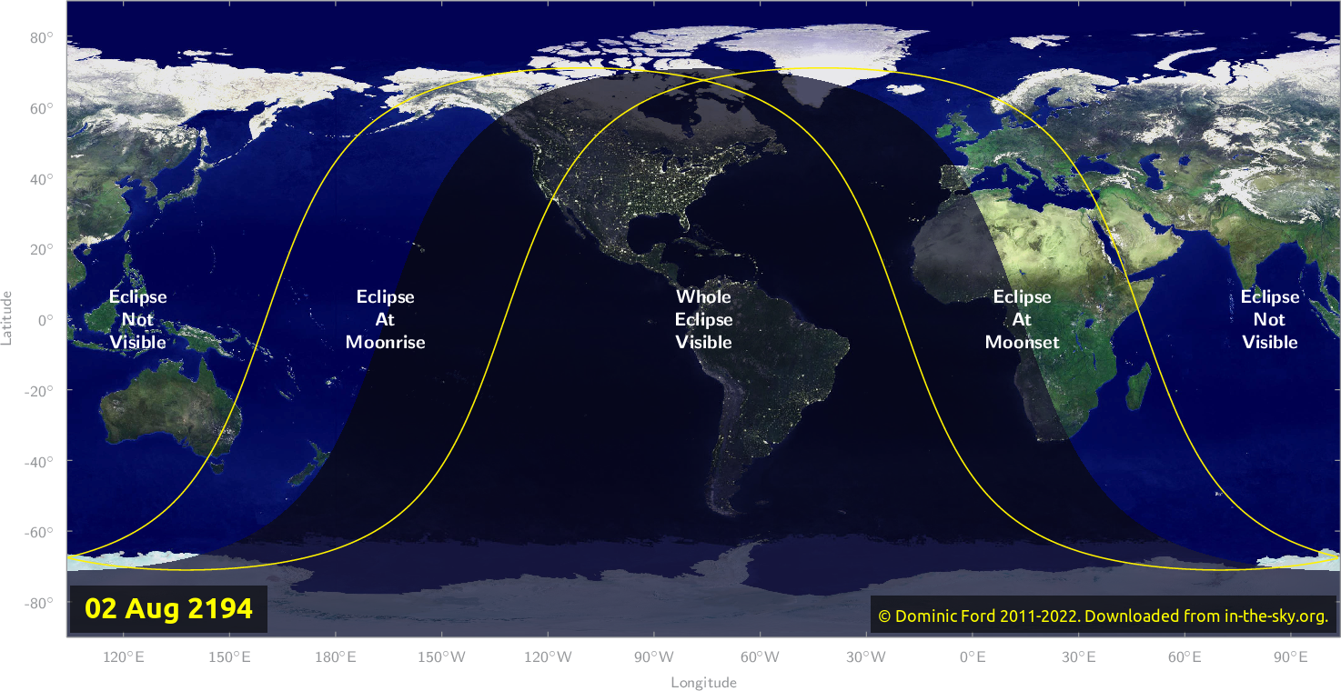 Map of where the eclipse of August 2194 will be visible.
