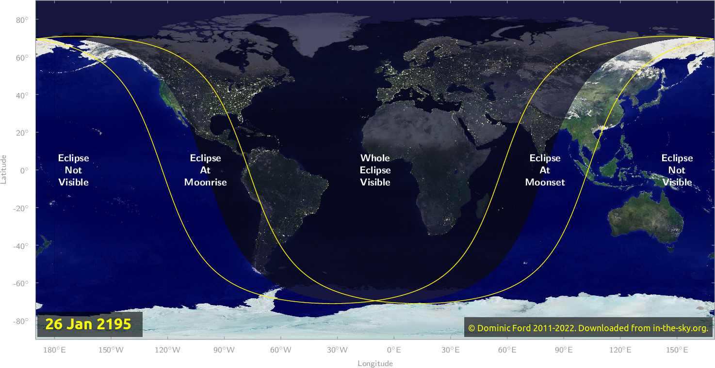 Map of where the eclipse of January 2195 will be visible.