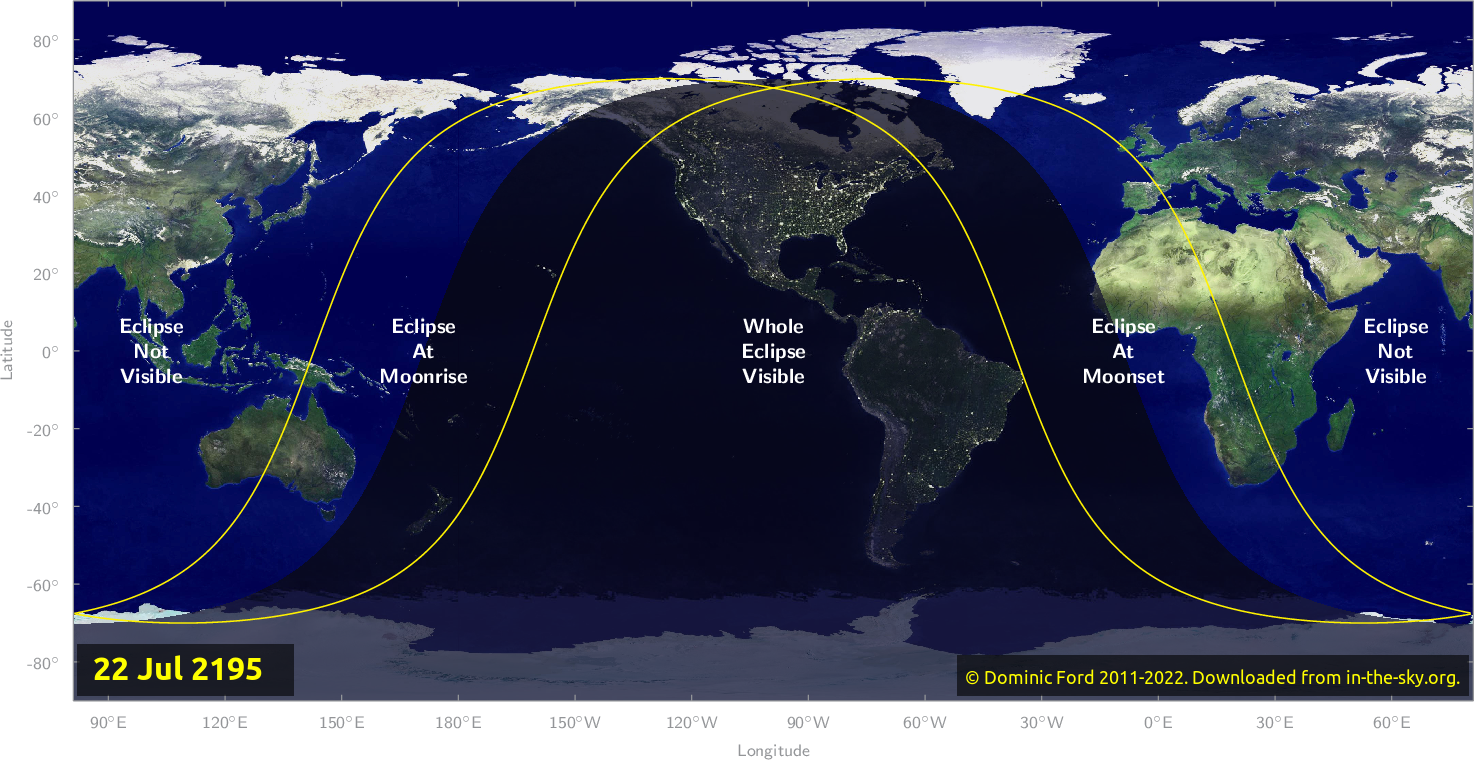 Map of where the eclipse of July 2195 will be visible.