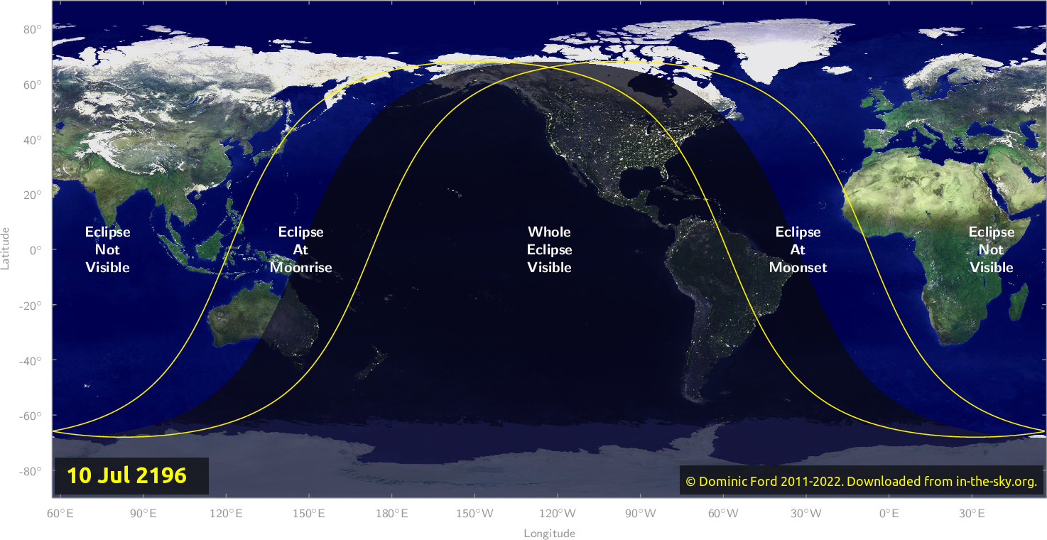 Map of where the eclipse of July 2196 will be visible.
