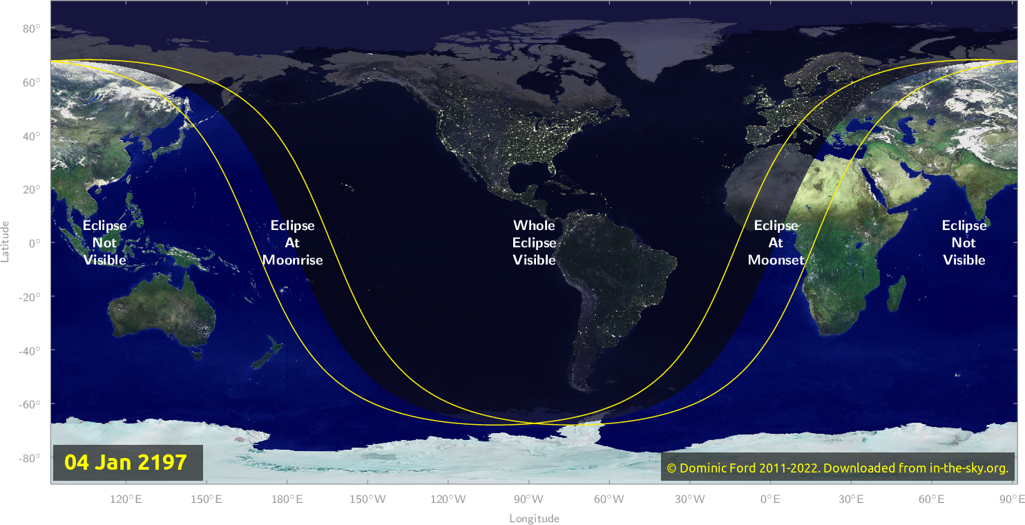 Map of where the eclipse of January 2197 will be visible.