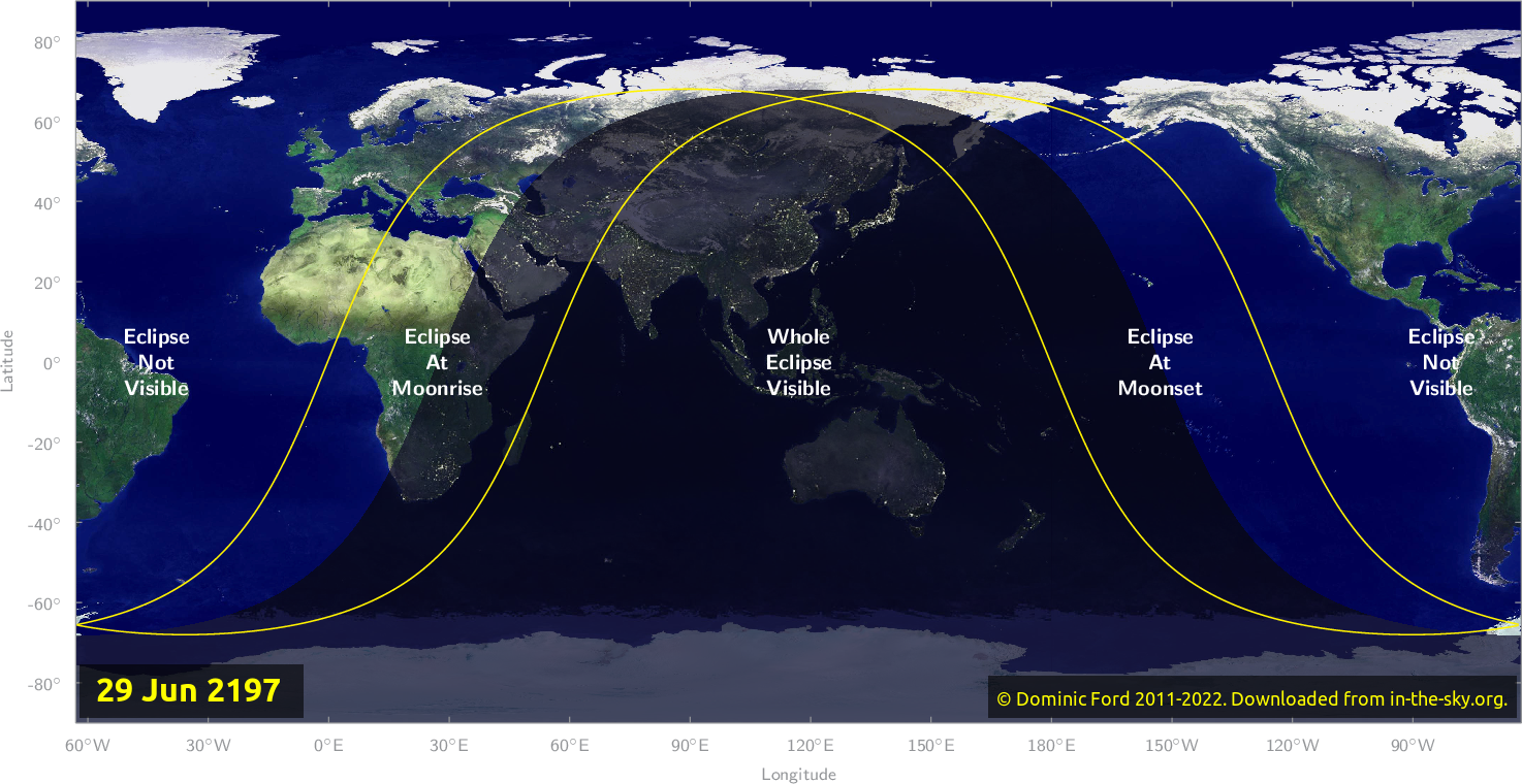 Map of where the eclipse of June 2197 will be visible.