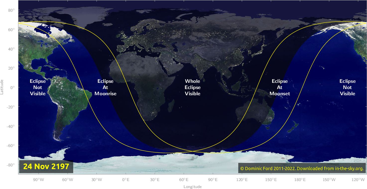 Map of where the eclipse of November 2197 will be visible.