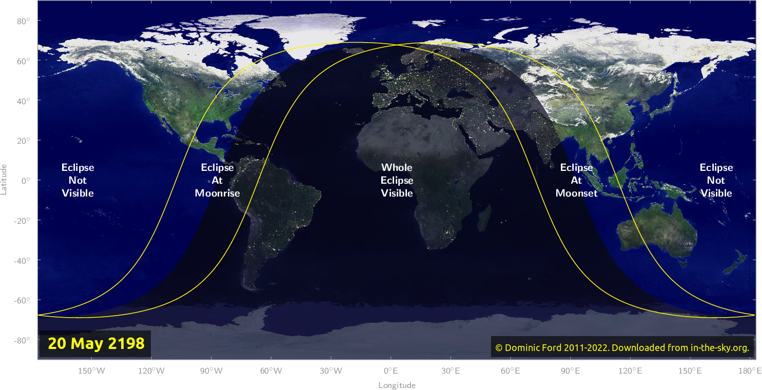 Map of where the eclipse of May 2198 will be visible.