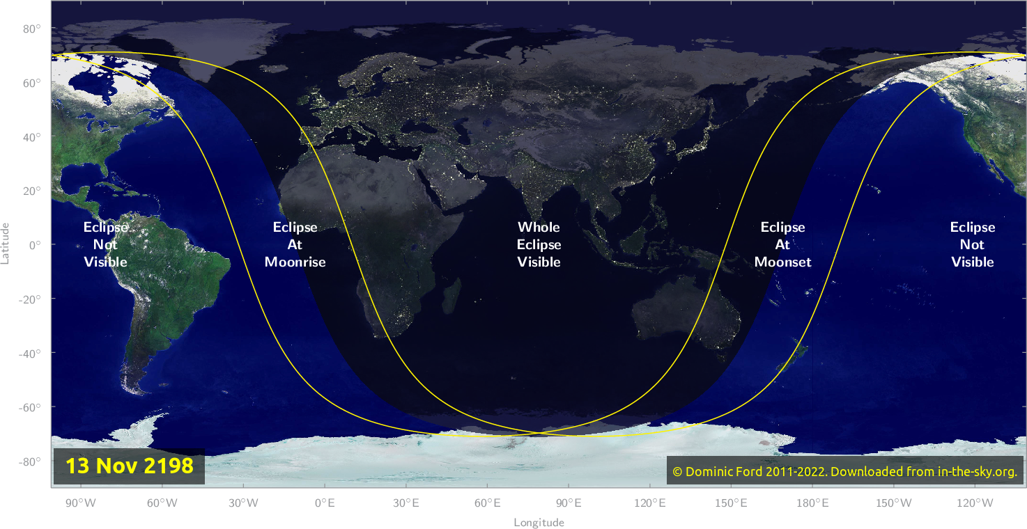 Map of where the eclipse of November 2198 will be visible.