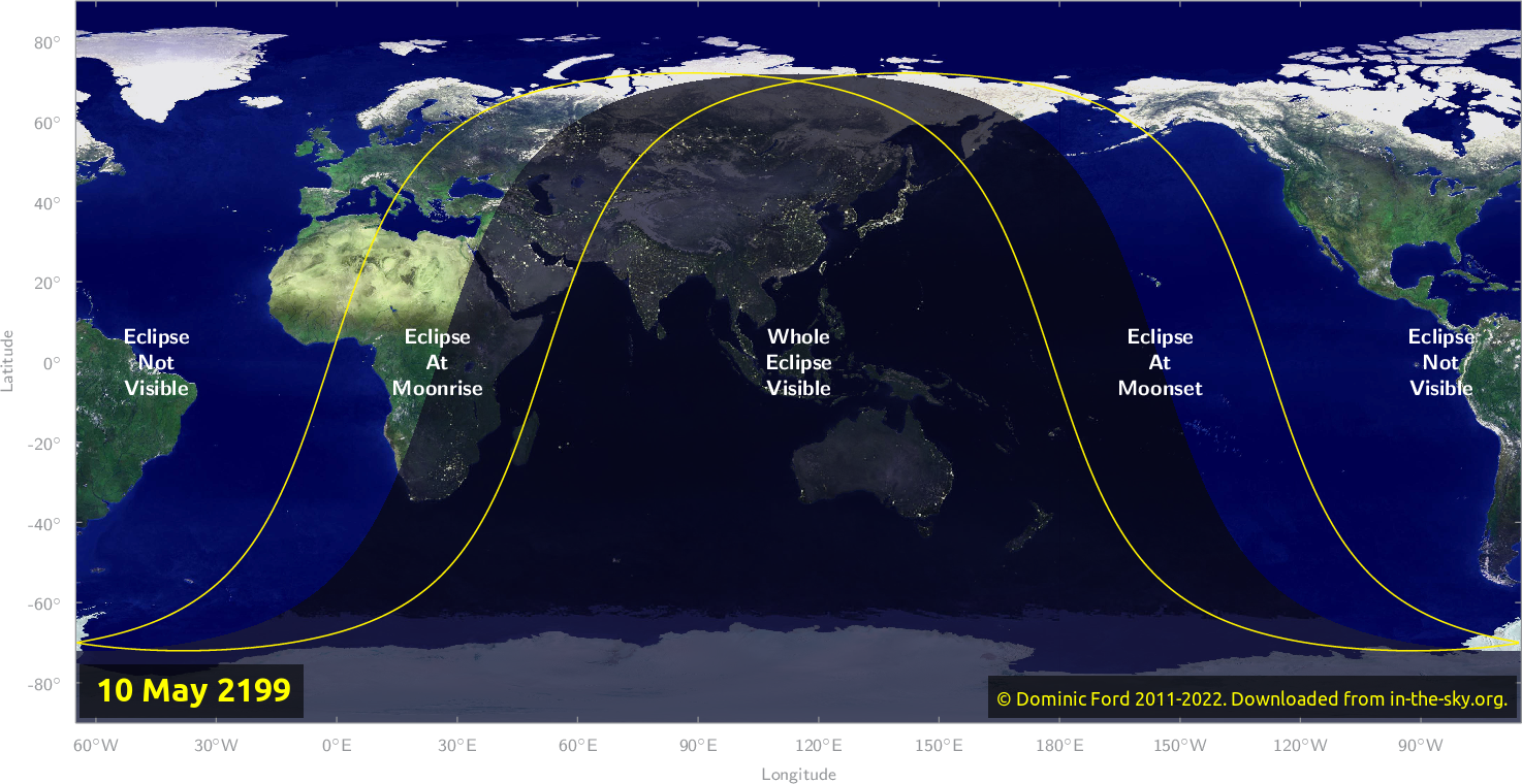Map of where the eclipse of May 2199 will be visible.