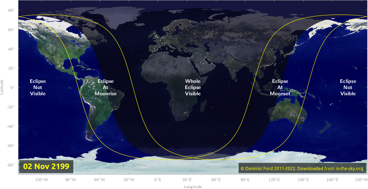 Map of where the eclipse of November 2199 will be visible.