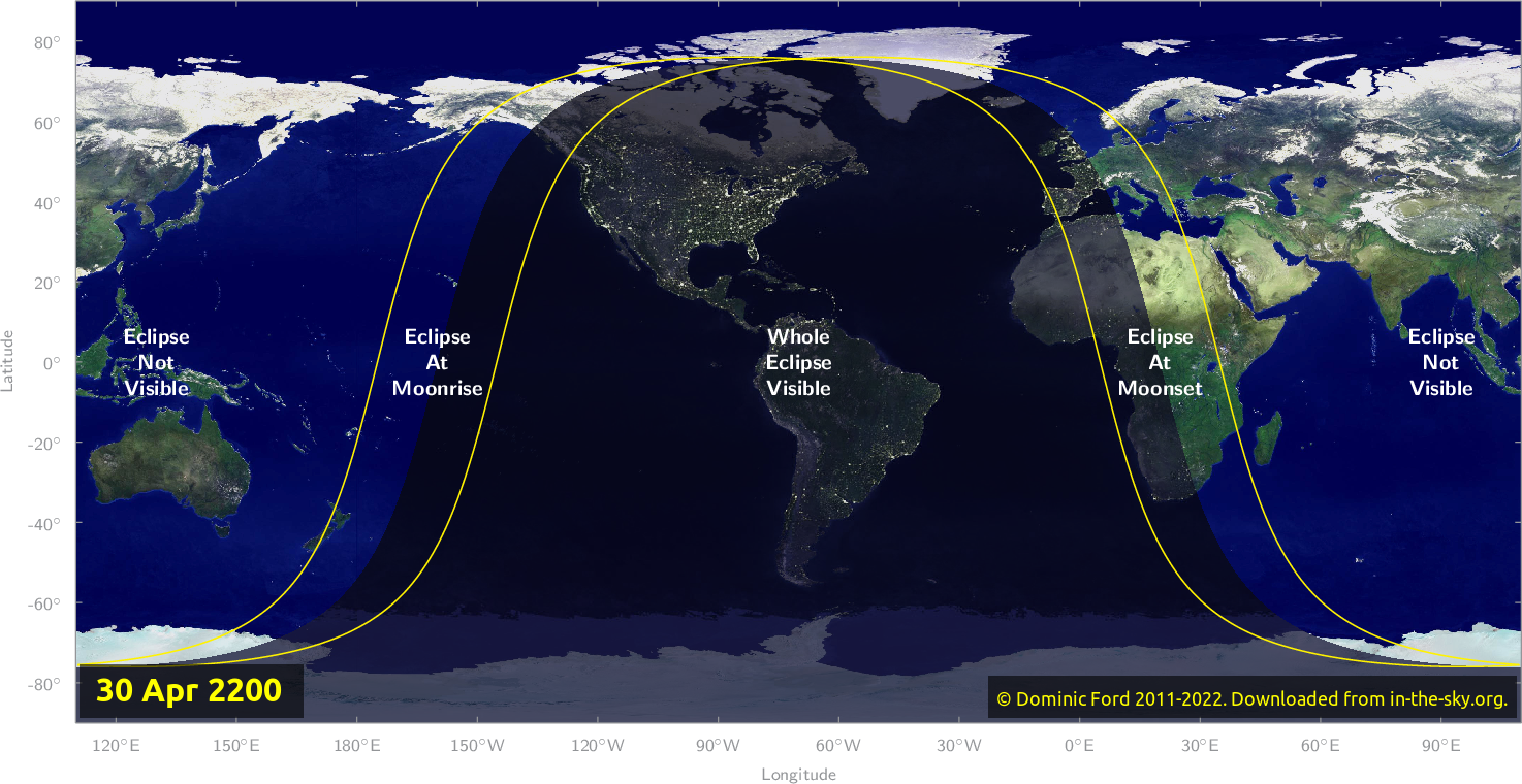 Map of where the eclipse of April 2200 will be visible.