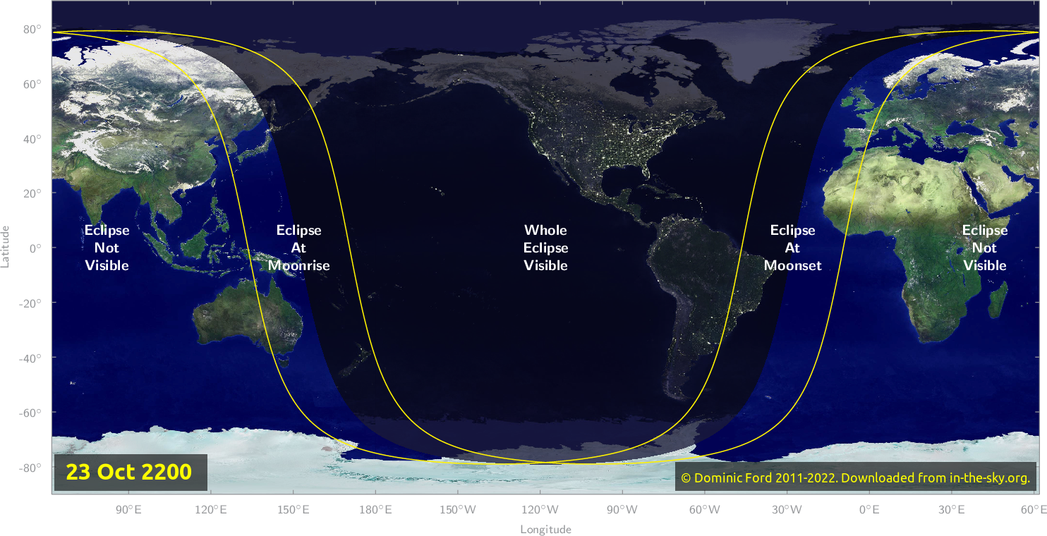 Map of where the eclipse of October 2200 will be visible.