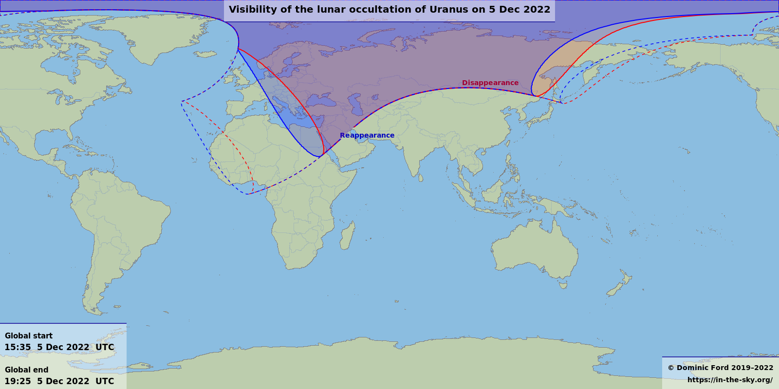 Map showing where the occultation is visible